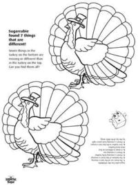 Find the Differences in the Turkeys Thanksgiving Activity Sheet