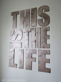 or WELCOME TO OUR HOME. Best tutorial I have seen on how to make faux metal letters. Secret ingredient in this one.