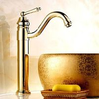 One Hole Ti-PVD Finish Solid Brass Single Handle Centerset Bathroom Sink Faucet