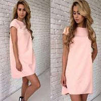 Plus Size Short Sleeve Casual Mini T Shirt Dress Solid O-neck Elegant Sexy Party Dresses $20.02