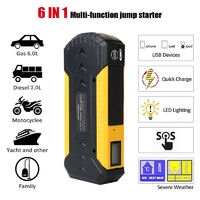 6 In 1 Emergency Charger Car Jump Starter Charger Power Bank with Adapter & Charging Line
