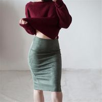 Price: $22.91 | Product: High Waist Sexy Style Stretch Wrap Ladies Office Work Suede Skirts | Visit our online store https://ladiesgents.ca