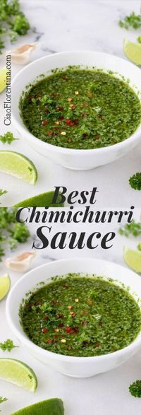 The absolute best Argentinian chimichurri sauce recipe with VIDEO. A perfect marriage between garlic, parsley, oregano, cilantro and lime.