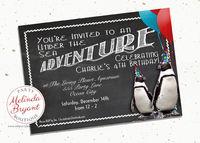 Aquarium Birthday Invitation 5x7 Printable Penguin Party Invites Winter Themed Custom Invitations Chalkboard Children First Birthday Quirky $10.66
