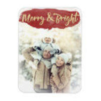 Red Merry & Bright Watercolor Holiday Flat Card
