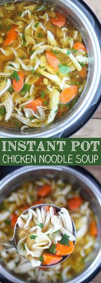 This Instant Pot Chicken Noodle Soup is THE BEST chicken noodle soup I have ever had and it's one of the easiest I have ever made. Tender chunks of chicken in a