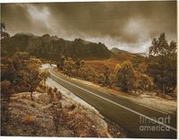 Rugged Remote Roads - Wood Wall Art | Fine art landscape on a stretch of road touring around the splendid mountains of the Southwest National Park, Tasmania, Australia | #woodwalldecor #woodenart #rugged #remote #farmhousedecor #countryhomestyle #regional...