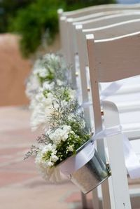 Galvanized bucket aisle decor