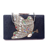 White / Gloden / Black Rhinestones Crystal Evening Bag Clutch $88.50