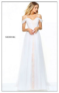 Unique Sherri Hill 50872 Sweetheart Tulle Ivory Long Prom