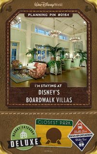 Walt Disney World Planning Pins: Disney's BoardWalk Villas