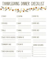 Printable Thanksgiving Dinner Checklist - This checklist will make sure you have everything you need for Thanksgiving Dinner.