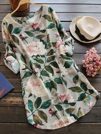 $21.99 Floral Long Sleeve Linen Blouse Dress - FLORAL ONE SIZE