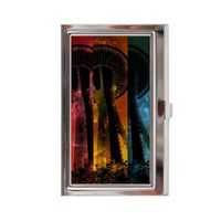 Striped Space Needle Business Card Case
