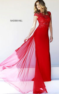 Bateau-Neck Red Beaded V-Back Sheer Party Prom Dress