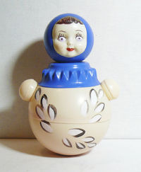 Russian Vintage Soviet Doll Nevalyashka Celluloid Roly Poly Musical Toy 29 cm $27.00
