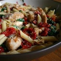 "Spinach and Sun-Dried Tomato Pasta: This is one of my ""go-to"" recipes. You could add some chickpeas for protein."