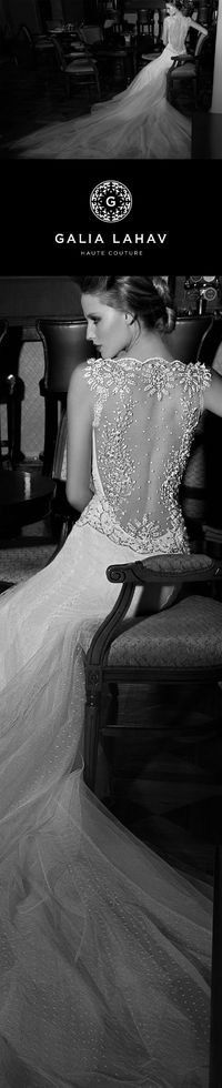 Tiffany is in Point d'esprit tulle layered over silk tulle and oranated with an antique embroidered mesh. #GaliaLahav