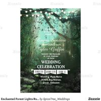 Enchanted Forest Lights Rustic Wedding Invitation