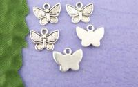 Pack of 20 Silver Tone Butterfly Charms. Nature Theme Insect Animal Pendants. 13mm x 10mm £2.19