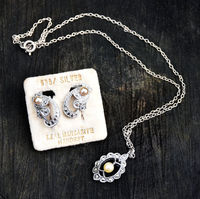 1920s Art Deco Sterling Silver, Cultured Pearl and marcasite Pendant Necklace and 935 Silver, Faux Pearl and Marcasite Earring Set- Gorgeous $81.00