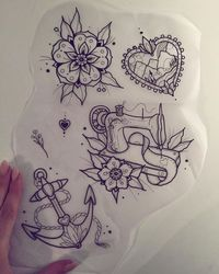 �€� tattoo �€� flower �€� English rose �€� anchor �€� sewing machine �€�