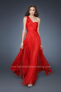 Sheer Nude Back Red Long One Strap Prom Dresses 2013 Discount