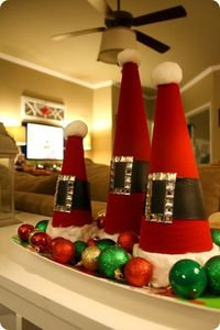 Santa hats from styrofoam cones. Cute idea.
