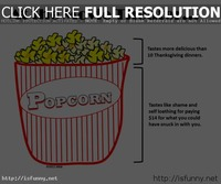 At the movie teather comic with popcorn