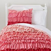Girls Bedding: Pink Ombre Ruffled Bedding Set in Girl Bedding . . . Wendy we could extend the theme!