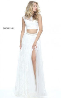 Sherri Hill 51118 A Line Two Piece Cap Sleeve Lace Prom Dress