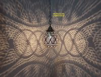 Antique Moroccan Brass Pendant Lamp, Small But Strong | Lampshade V2 $100.00