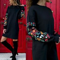 Price: $27.99 | Product: Elegant Floral Print Long Sleeve O-Neck Loose Warm Mini Dress | Visit our online store https://ladiesgents.ca