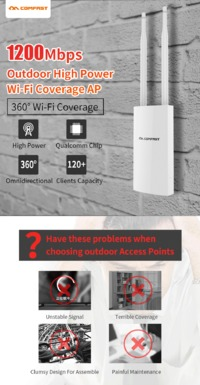 Comfast 1200Mbps Dual Band 5G Router High Power Outdoor AP Omnidirectional Coverage Access Point Wifi Base Station Antenna AP WiFi Router CF-EW72