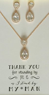 Rose Gold Bridesmaid Jewelry Set, Rose Gold Bridal Set, TearDrop Necklace, Cubic Zirconia Crystal Bridesmaids Gifts, MP1 $44.50
