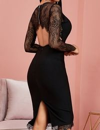 Black Autumn Lace Party Sexy Hollow Out Bandage Dress,NEW,on Sale!