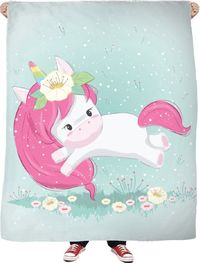 Leaping Unicorn Fleece Blanket $65.00