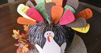 Turn a decorative pumpkin into a thankful turkey