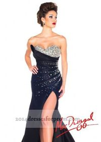 Black Slit Sequins Mermaid Trumpet Dresses 2014