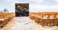 Awesome handmade chevron wood ceremony backdrop