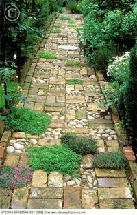 Wonderful mix of material for garden path. Cobblestone sectioned between random pattern of bricks (reclaimed bricks offer a softer mellow tone of age along with irregular edges) and plantings of different types of thyme. Bordered with bricks as we...