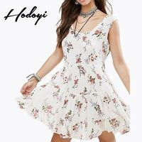 Vogue Sexy Open Back Sleeveless Crossed Straps Lace Up Floral Summer Dress - Bonny YZOZO Boutique Store