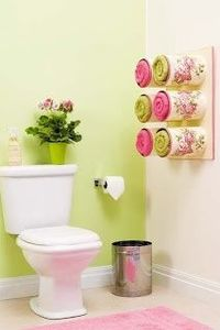 Green and Purple so pretty, and the paint cans as towel holders.....cute