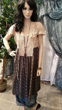 Boho Vintage Dress with Crochet Top - Brown, $300.00, https://kollekcio.com
