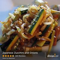 "Japanese Zucchini and Onions | ""Zucchini and onions are stir fried with sesame seeds and teriyaki and soy sauces."""