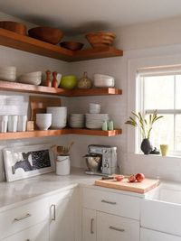 Open shelves seem to be both the favorite to have and hate on at home these days. On one hand, their open form helps rooms feel lighter, brighter and airer. But