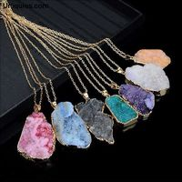 Natural Crystal Quartz Healing Point Chakra Bead Rhinestone Pendant Necklace $21.69