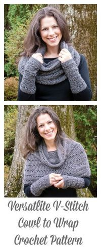 Free Pattern! Versatile V-Stitch Cowl to Wrap Crochet Pattern ... a super versatile piece �€� goes from cowl to wrap with just a little tug over the shoulders. It looks just as awesome with a pair of jeans as it does for a night on the town. www.pet...