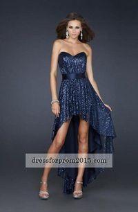High Low Formal Navy Sexy Strapless Prom Dress Sale