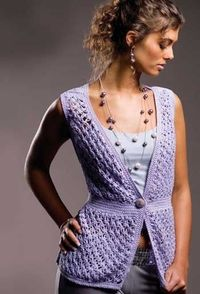 Lavender Lace Vest - free crochet pattern - in grey or black...